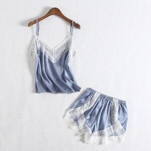 Image 4 - Fiklyc roupa interior feminina sexy quatro peças pijama define calças curtas + calças compridas + tops + roupões de banho laço do falso conjuntos de pijamas de seda