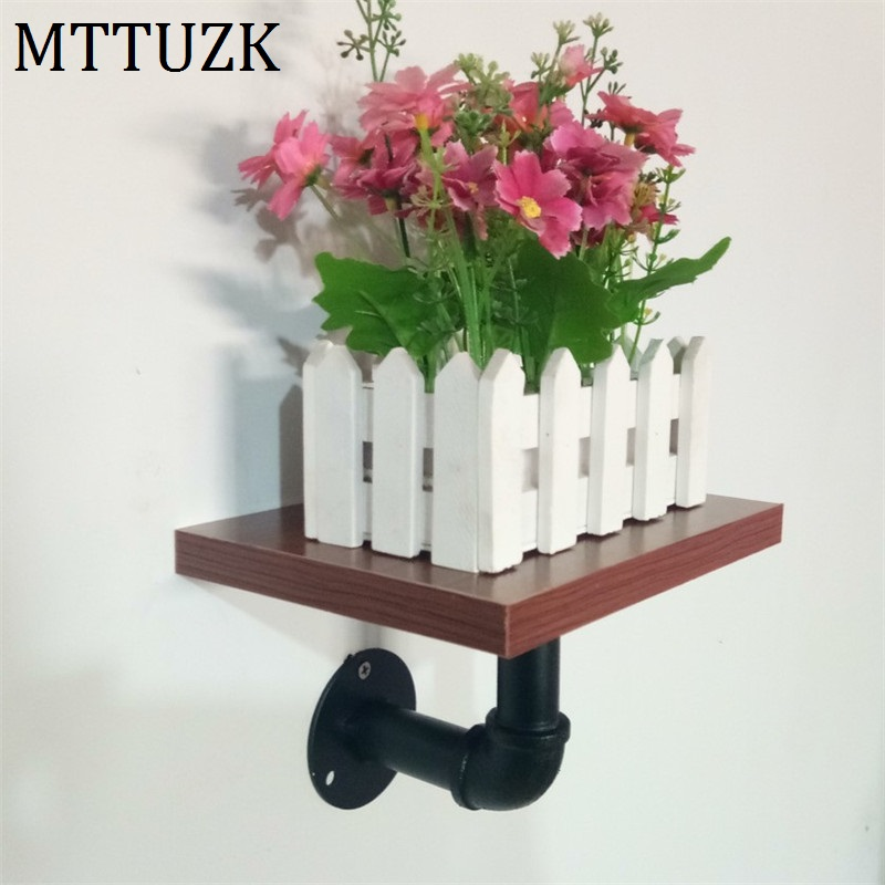 MTTUZK Wrought iron water pipe shelf bookcase wall shelf wall flower stand  wall mounted partition board wall hanging rack title=