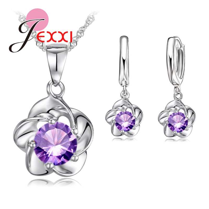 Hot Sale Elegant Flower With CZ Zircon  925 Sterling Silver  Necklace Earrings Set Women Girls Wedding Party Jewelry Set