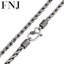 FNJ 4 мм цепочка с веревкой, колье из серебра 925 пробы 45 см до 65 см, модное Оригинальное S925 тайское серебро, женское и мужское ожерелье, ювелирно...