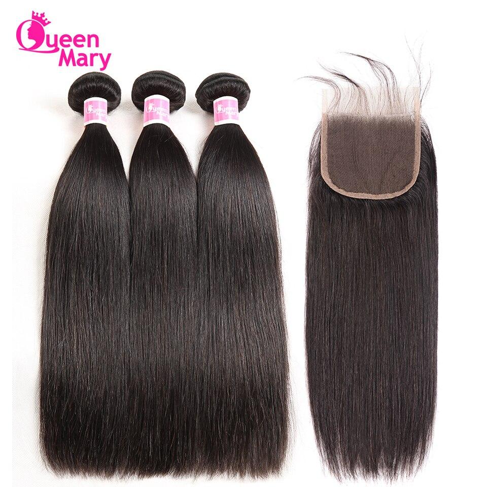Hair-Bundles Closure Non-Remy-Hair Straight Brazilian Queen Mary