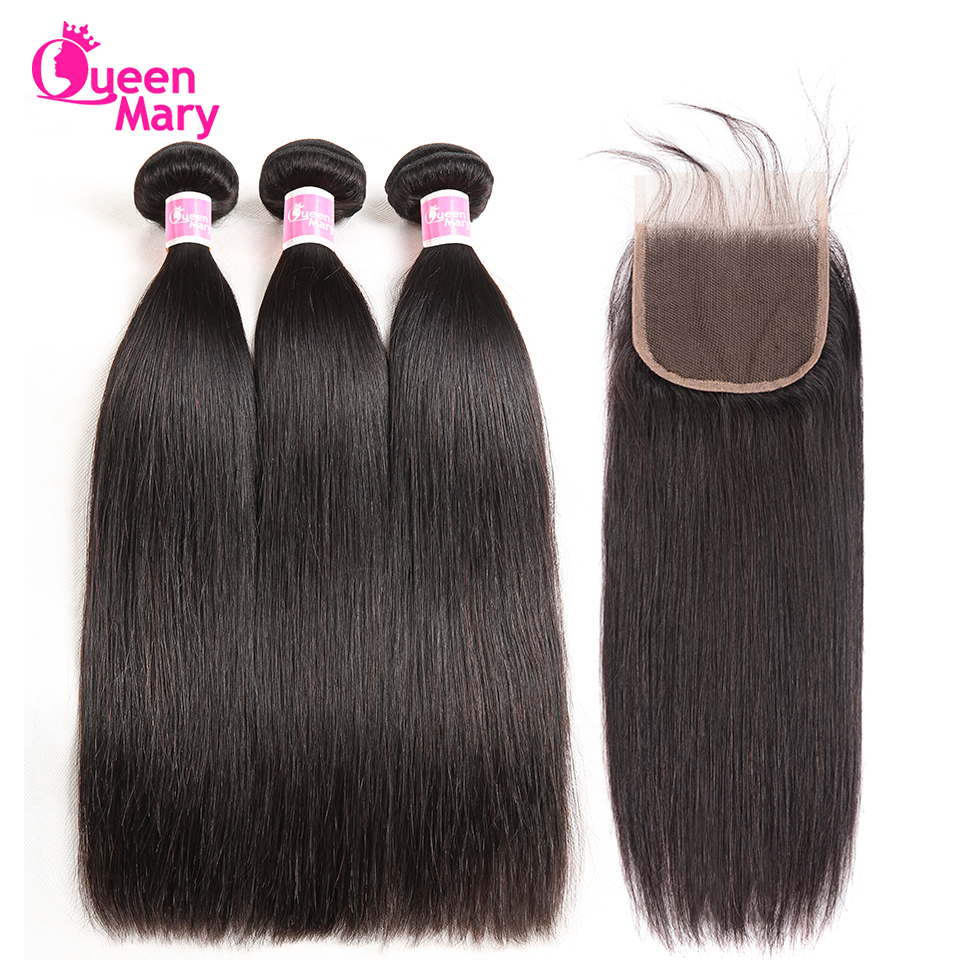 Brazilian Straight Hair Human Hair Bundles Med Lukking Straight - Menneskelig hår (for svart)