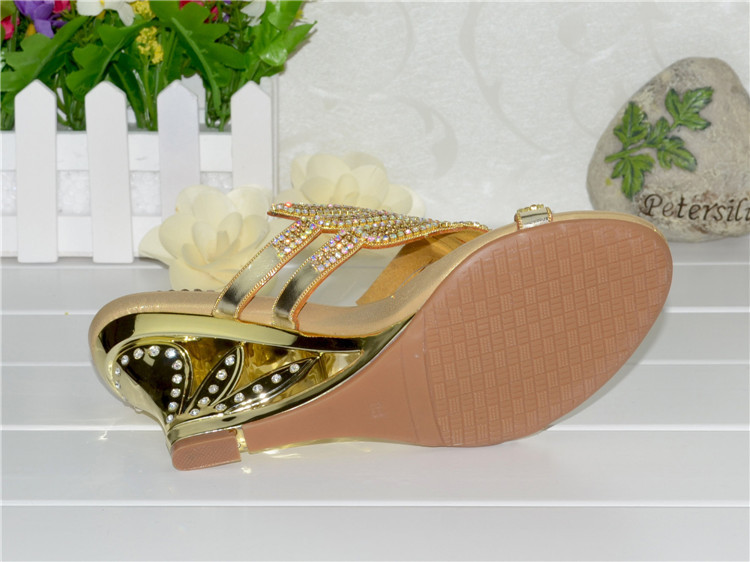 2016 Summer New Diamond Slope With High Heeled Wedges Online Shoes Sandals Size 11 Womens Golden Open Toe Slippers14