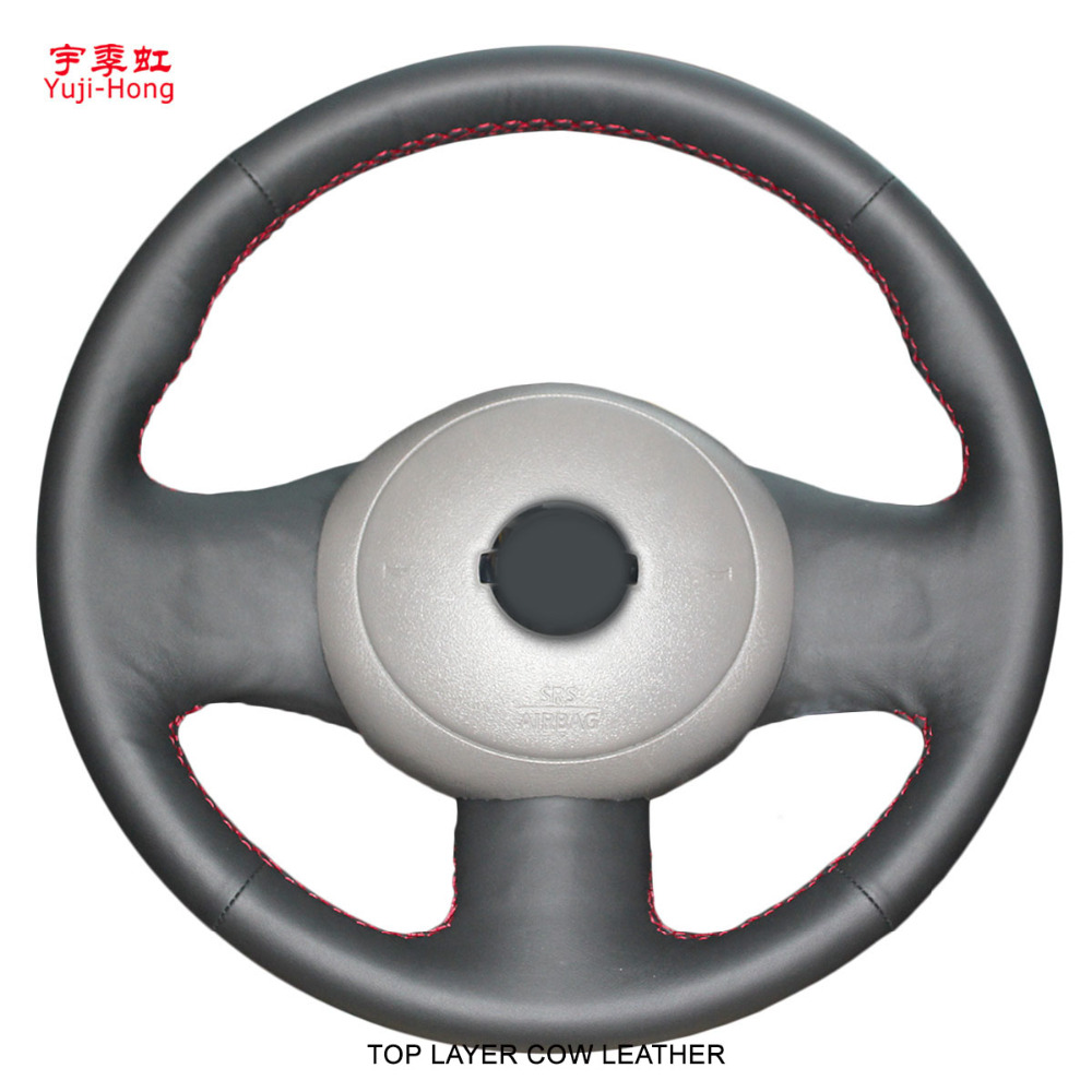 Yuji Hong Car Steering Covers Case for Nissan Sunny March 2011 Top Layer Genuine Cow Leather