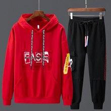 Paragraph Lang Legendary Men Sets Fashion Sweatshirt Sporting Suit Hoodies+pants suit 2 Pieces Slim Hip Hop  Streetwear