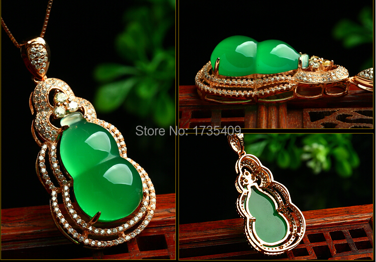 Pure 925 Sterling Silver Green Chinese 100% Natural /Jadeite Gourd Pendant With Certificate 100% natural green jadeite round circle pendant bring peace 1pcs