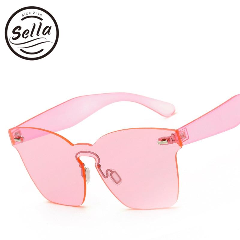 874f287e0ea44 Sella 2017 Nova Moda Integrado Lens Mulheres óculos de Sol Cateye Matiz  Lente Óculos Sem Aro Homens Óculos de Grandes Dimensões