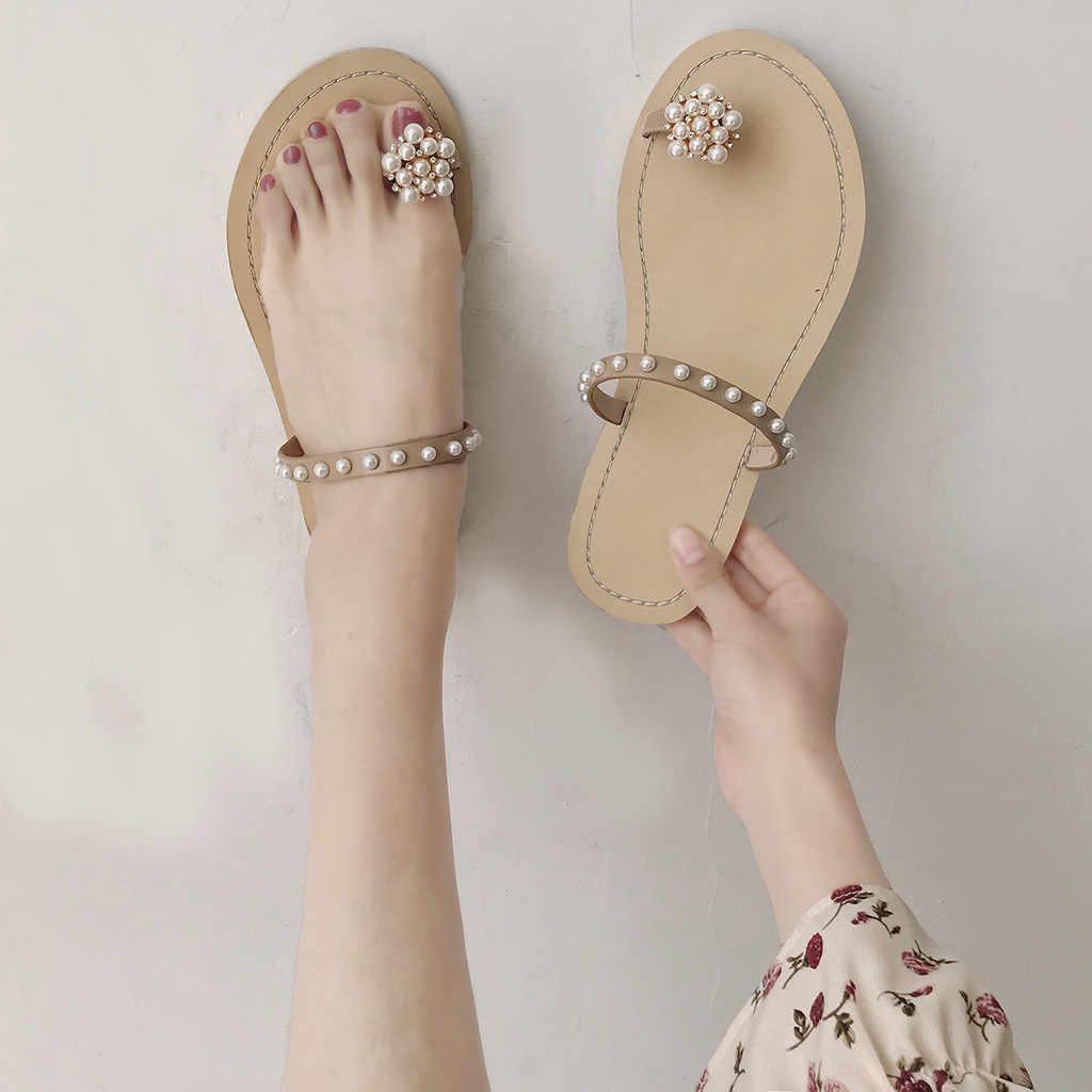 Женские винтажные ременные сандалии; большие размеры; сандалии с бусинами и кольцами; пляжные шлепанця на плоской подошве с жемчугом и цветочным принтом; шлепанцы
