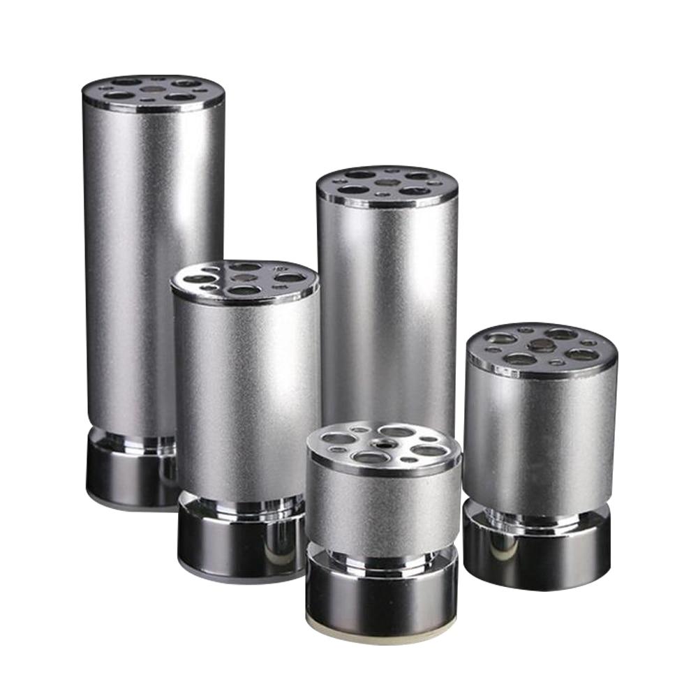 Adjustable Aluminum alloy Furniture Legs Silver Cabinet Table Round Shape Feet цены онлайн