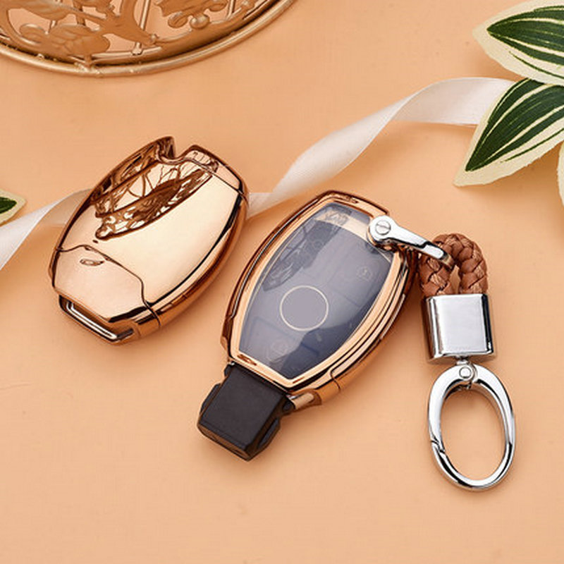 Good quality TPU+PC Car Key Case Cover Key Holder Chain Ring For Mercedes Benz W203 W210 W211 W124 W202 W204 AMG Accessories цена
