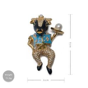 Image 5 - Amorita butik emaye bullheaded şövalye pin inci moda broş