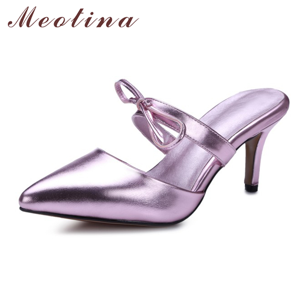 Meotina Mules Shoes Women Gold Silver Party Sandals Stilettos Pointed Toe Bow High Heels Slippers Summer Slides Pink Size 34-43 meotina brand design mules shoes 2017 women flats spring summer pointed toe kid suede flat shoes ladies slides black size 34 39
