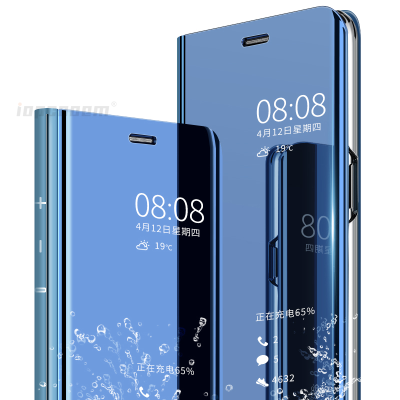 for Samsung C8 Case Luxury Magic Mirror Flip Standing Smart View Leather Case For Samsung Galaxy J7 Plus Cover J7 5 5 inch in Flip Cases from Cellphones Telecommunications