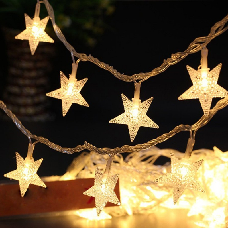 battery operated led string fairy lights pearl star new year garland led christmas decorations lights outdoor luces de navidad in led string from lights