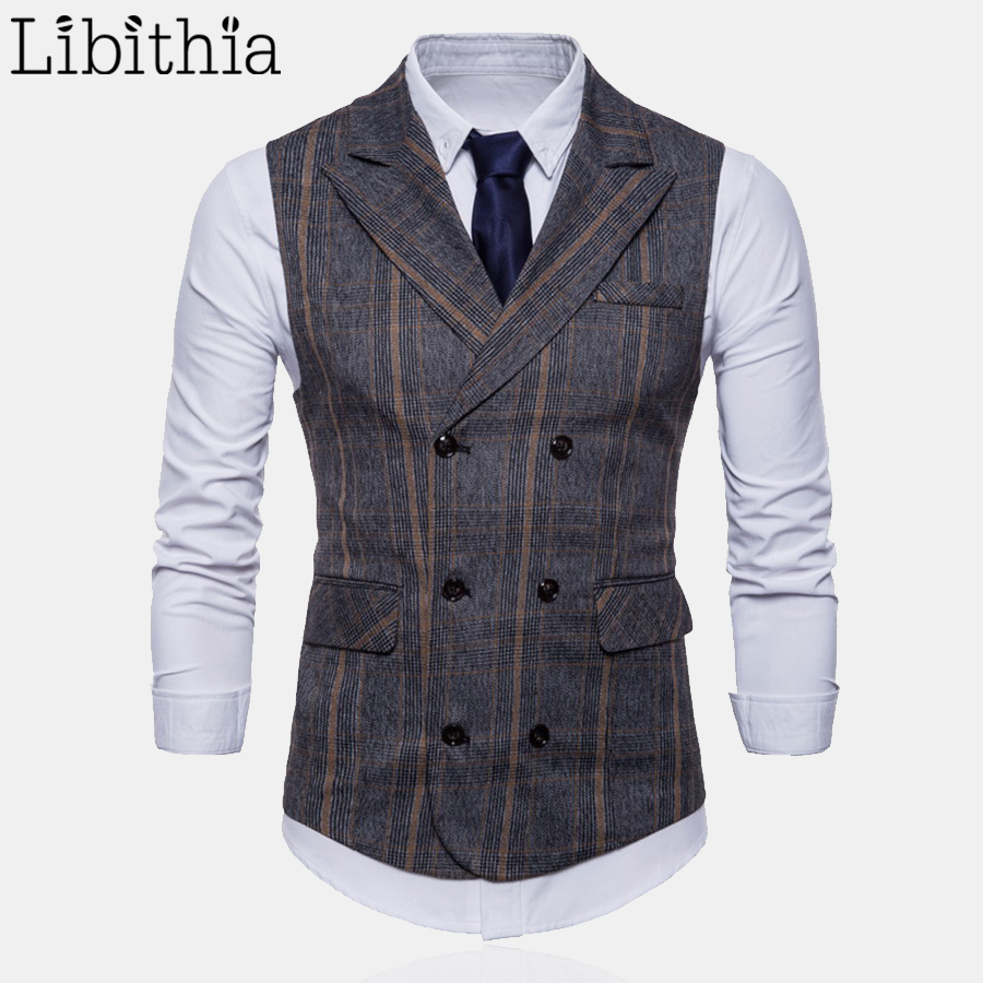 Mens Formal Plaid Suit Vest High Quality Double-breasted Big Size M-4XL Luxury Waistcoat ...