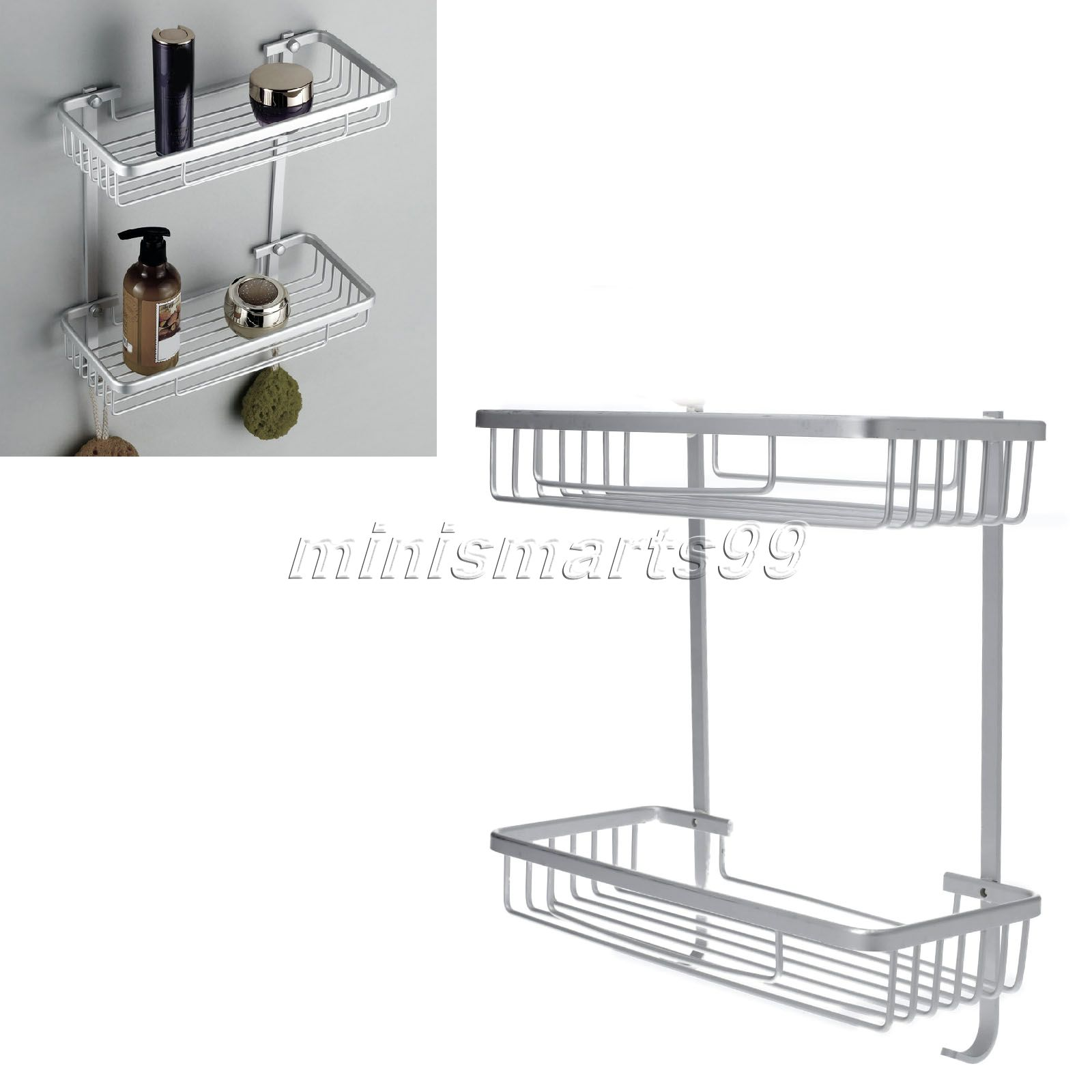 high quality 2 layer wallmounted bathroom shelf shower towel storage rack soap shampoo holder
