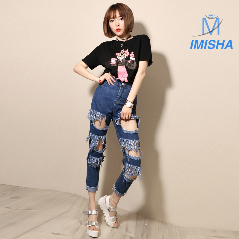 ФОТО Fashion Ankle-Lenght Pants Big Hole Beggar High Waist Slim Vintage Ripped Jeans with Pocket and Button Loose Harem Pants  A70