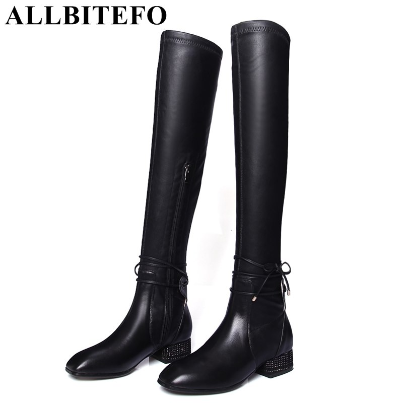 ALLBITEFO square toe genuine leather+Stretch material medium heel women boots fashion bowtie thick heel long boots girls boots new arrival superstar genuine leather chelsea boots women round toe solid thick heel runway model nude zipper mid calf boots l63