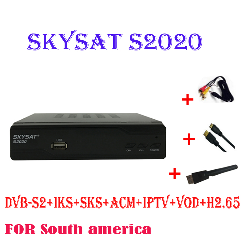 SKYSAT S2020 + USB WIFI Double Tuner IKS SKS récepteur acm IPTV H.265 Récepteur Satellite pour l'amérique du sud