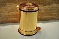 Роскошные 10L Европа стиль позолоченные с цветочным педаль мусорные баки мусорное ведро мусора украшения дома свалку LJT010
