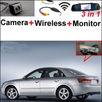 For Hyundai Sonata I45 2005 2014 3 In1 Special Rear View Camera Wireless Receiver Mirror Monitor