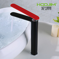 Basin Faucet Innovative Fashion Style Black Baking Paint Bathroom Mixer Deck Mounted Red Handle Hot and Cold Water Mixer Tap