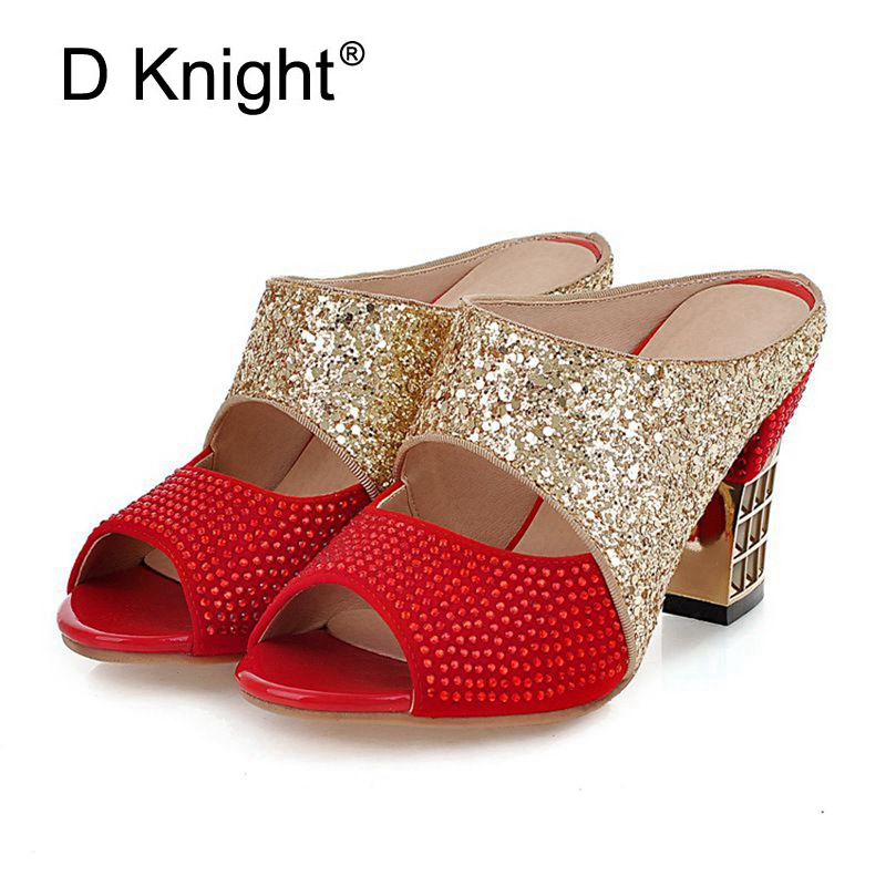 New Summer Rhinestone Wedding Shoes Woman Gladiator Sandals Women Patchwork Sequined Cloth High Heels Glitter Sandalias Mujer phyanic 2017 gladiator sandals gold silver shoes woman summer platform wedges glitters creepers casual women shoes phy3323