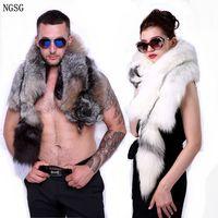 2018 New Women Real Fur Cross Fox Scarf Men's Genuine Gold Fox Animal Scarves Super Luxury Natural Silver Fox Fur Accessorie