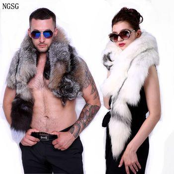 Men natural fur fox scarf winter neck warm real cross fox phnom penh fox scarf genuine luxury animal fox clothing accessories фото
