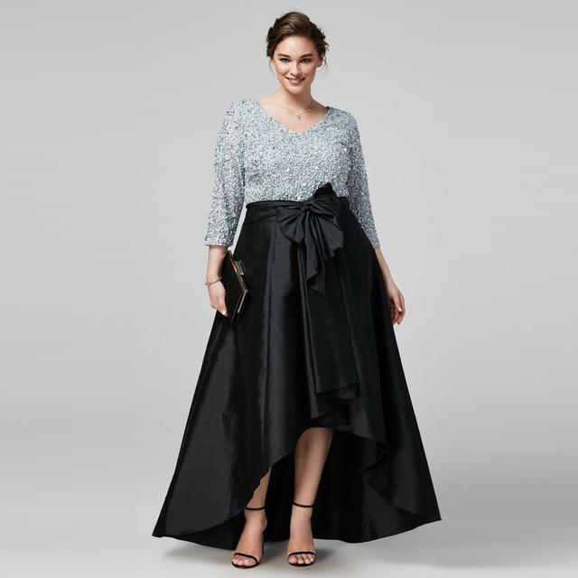 bec32ae8a0db Exquisite Plus Size Skirts Women Custom Made Bow Waistline Floor Length  Long Maxi Skirt High Low Asymmetrical Black Skirt