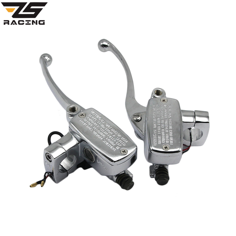 ZS Racing New 1 Inch 25mm Universal Motorcycle Brake Master Cylinder Hydraulic Clutch Lever Left & Right One Set free shipping motorcycle 7 8 black hydraulic left right clutch