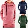 Women's Long Sleeve Heaps Collar Hooded Hoodies Draw Cord Pocket Coat smt 87