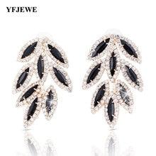 YFJEWE, новинка, женские модные ювелирные изделия, стильные длинные серьги с листьями, Стразы ручной работы, милые серьги-гвоздики с кристаллами, свисающие серьги для девочек E011