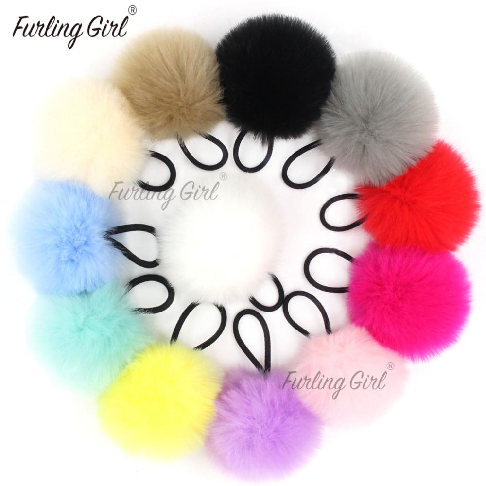 Furling Girl 1PC Faux Rabbit Fur Pompoms Rubber Elastic Hair Bands Soft Hand Made Ball Hair Scrunchies Hair Accessories