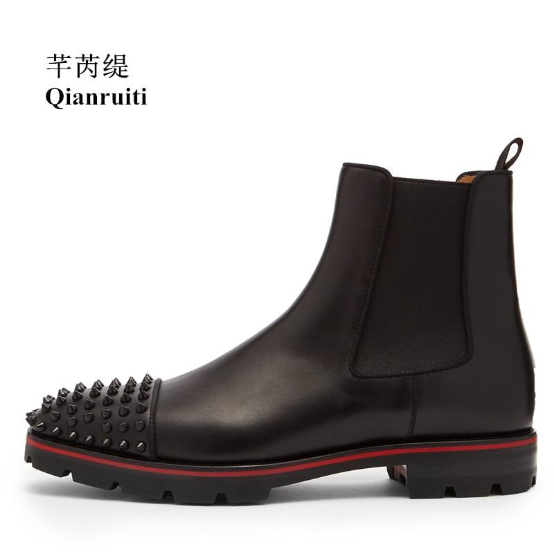 где купить Qianruiti 2019 Men Chelsea Spike Boots Men's Ankle Rivet Boots Elastic Band Round Toe Low-heeled Shoes EU39-EU46 по лучшей цене