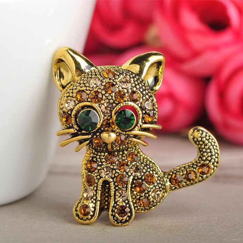 Blucome 55% Off Bulk Sale 10 Pcs Cute Green Eyes Kitten Cat Shape Brooch  Crystal 03fbf46573e7