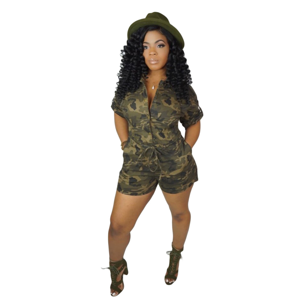 Plus Size Women Playsuit 2019 Casual Camouflage Print Shorts   Jumpsuits   Short Sleeve Pockets Button Sexy V Neck Club Party Romper