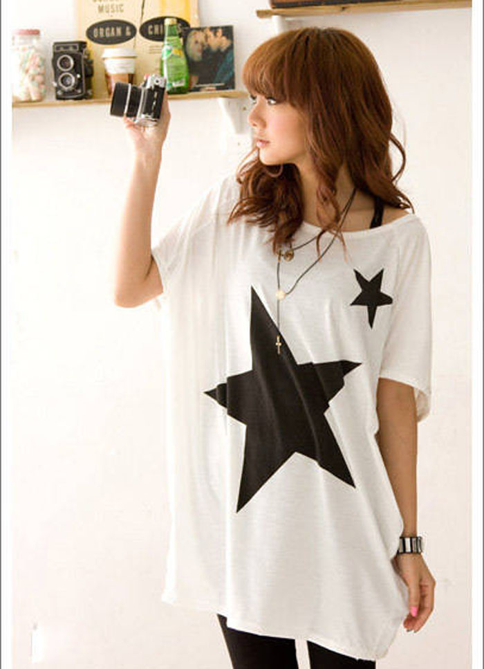 Special Design Women Long Loose Batwing Dolman Sleeve T-Shirt Casual Star Tops start ptinting tee shirt femme harajuku