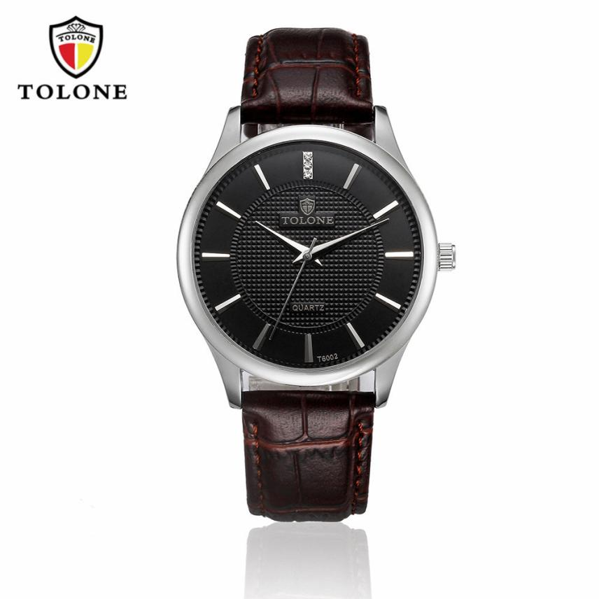 TOLONE Men s Watch Hot Luxury Men s Date Watch Stainless Steel Leather Analog Quartz