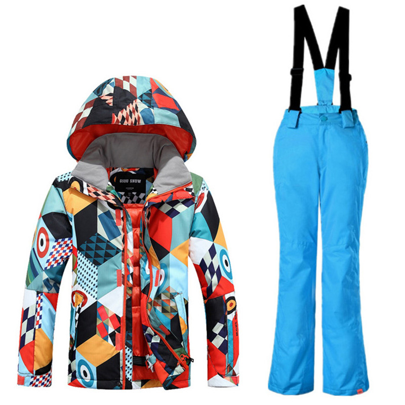 Gsou Snow ski sets skiing jacket and pants childrens ski suit boys suit warm waterproof baby boy breathable windproof snow suit