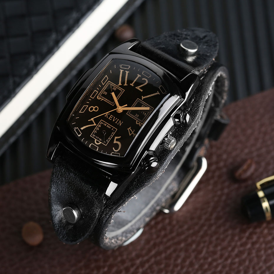 Hot Sale KEVIN Quartz Watches for Men Creative Arabic Number Rectangle Dial Leather Band Strap Male Clock for Fashion Gifts (8)