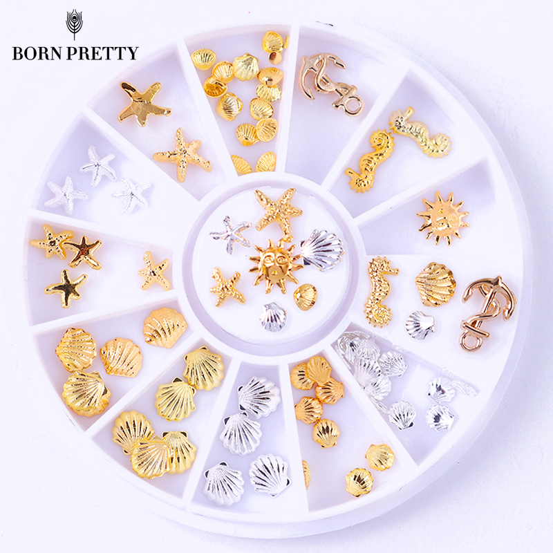 1Box Gold Silver Shell Pattern Nail Rivet Studs Starfish Shell Anchor 3D Nail Decoration Manicure Nail Art Decoration Wheel rose gold silver black nail beads caviar studs multi size diy 3d nail art uv gel lacquer decoration in wheel manicure accessorie