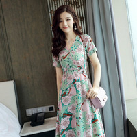 Korean Fashion 2017 Women Summer V Neck Vintage Boho Long Print Floral Chiffon Skirt Short Sleeve