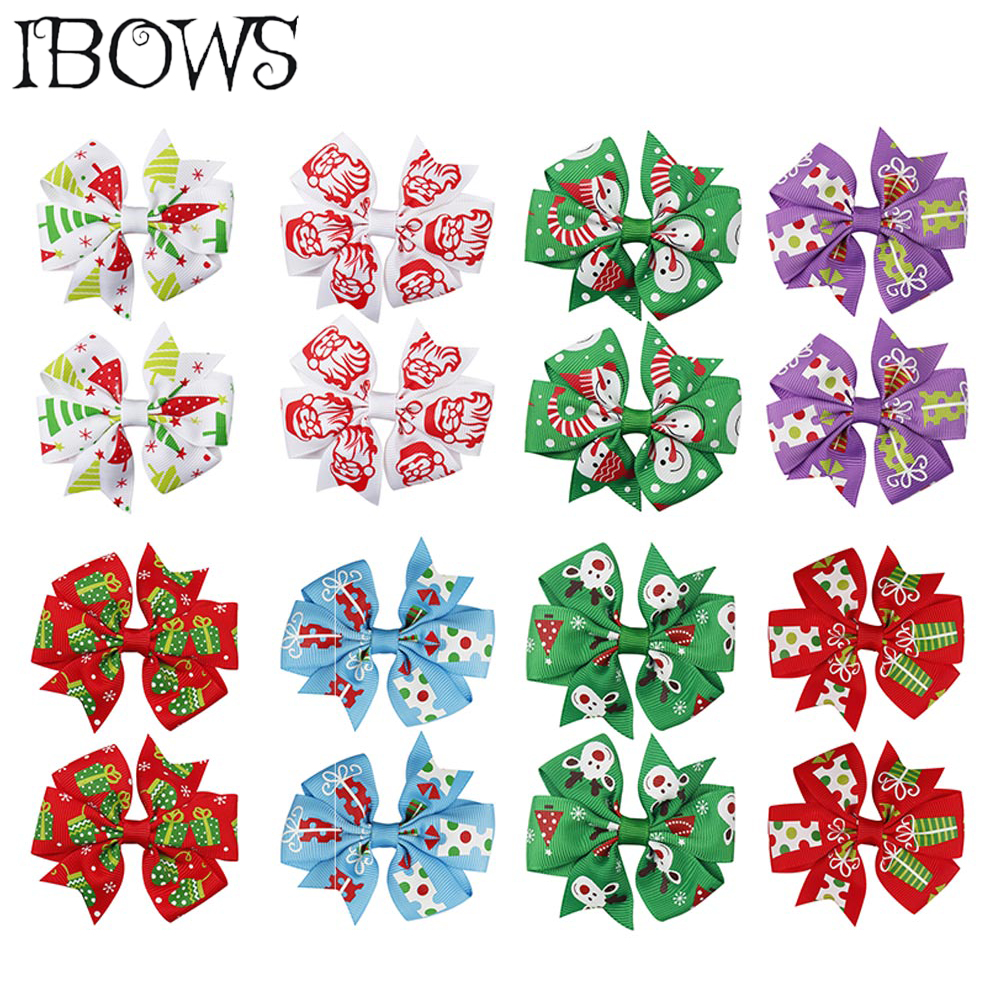8Pcs/Lot Christmas Pinwheel Hair Clips Xmas Grosgrain Ribbon Hair Grips For Girl Kids New Year DIY Headwear Hair Accessories