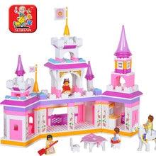 SLUBAN 2017 Novo 0251 Princesa Castelo Série Blocos Tijolos Bloco Iluminai Construção Educacionais DIY Brinquedos Menina Frete Grátis