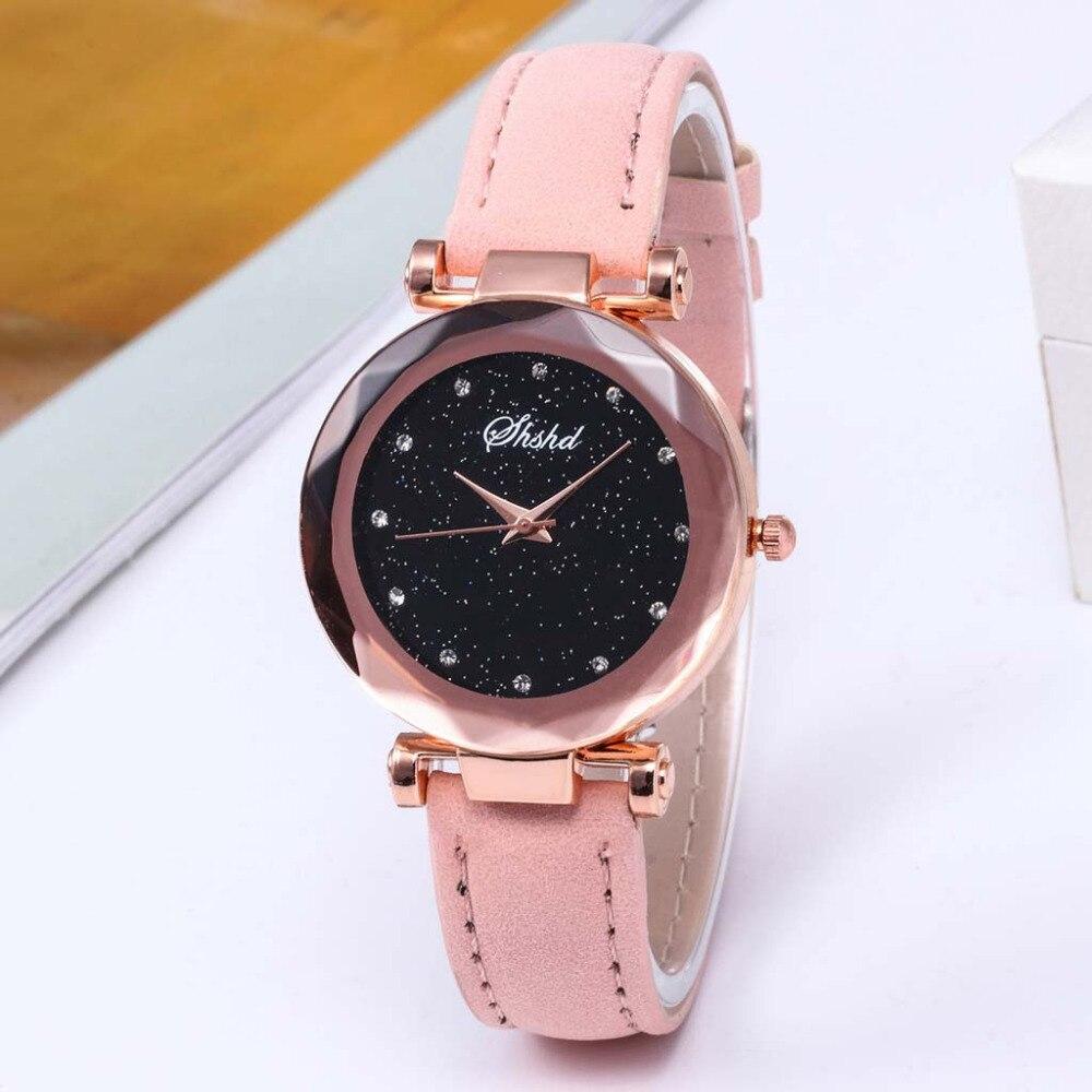 Hot Sale Fashion Luxury Inlay Rhinestone Starry Dial Women Watch Quartz Leather Belt Ladies WristWatch Temperament Brand Clock#B