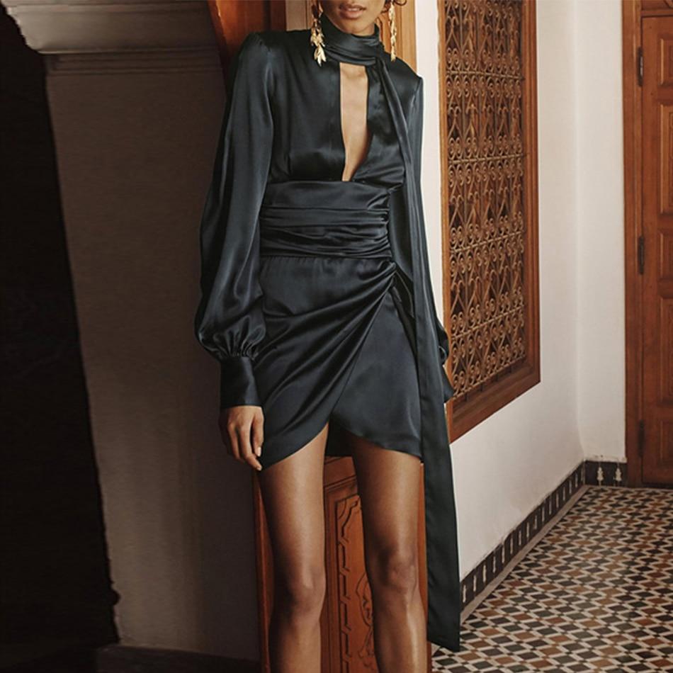 Black Long Puff Sleeve Mini Club Dress