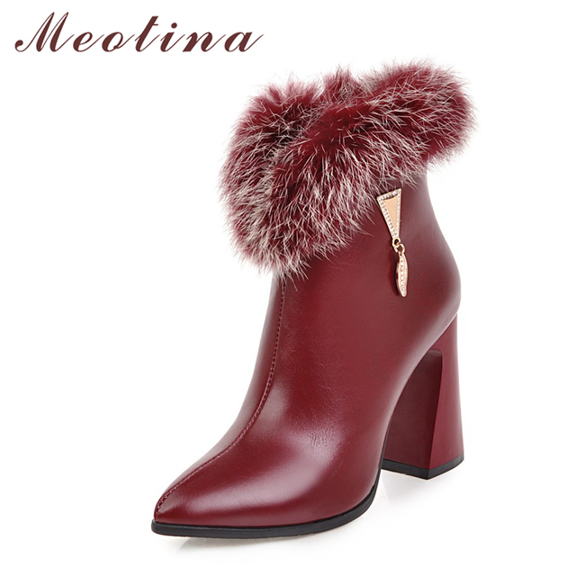 Meotina Women Winter Boots High Heels Ankle Boots Female Short Boots Real Fur Shoes Zip Thick Heel Boots White Red Size 33-46