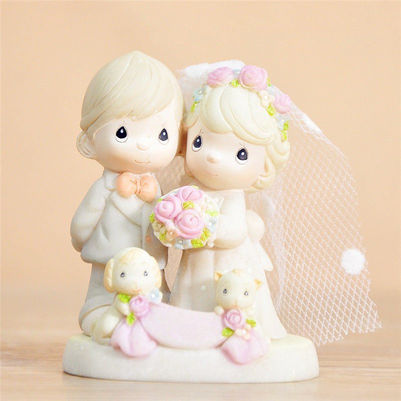 Precious Wedding Couple Lovers Q Figures PVC toys cake home office car decoration mom party favor Marry me gift