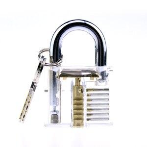 Image 5 - H & H, outil de serrurier pliant 6 en 1, ensemble de serrurier de poche avec serrure transparente